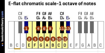 E-flat chromatic scale-1 octave of notes